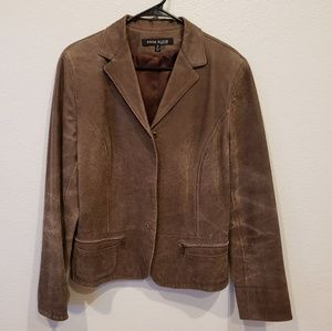 Anne Klein 100% brown Leather Distressed sz.14
